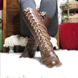 Frye lace up witch heeled boots